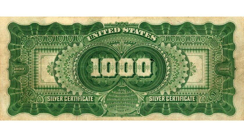 """1891 $1000 Silver Certificate """"Marcy"""" Note - back"""