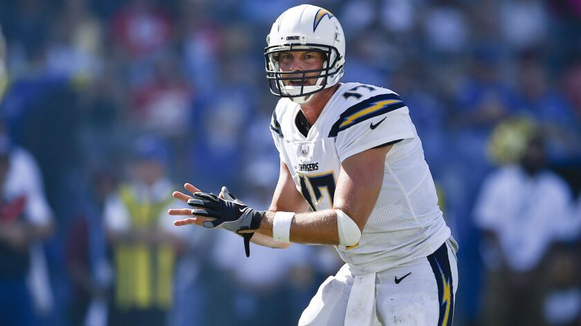 Los Angeles Chargers quarterback Philip Rivers in action during the second half of an NFL football g