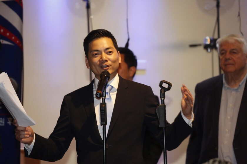 Robert Lee Ahn, a candidate for the 34th Congressional District seat, speaks to supporters at a gathering on election night in Koreatown.