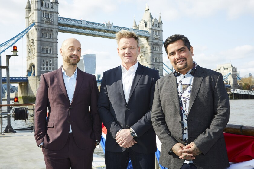 "Joe Bastianich, left, Gordon Ramsay and Aarón Sánchez take a new episode of Fox's ""MasterChef"" to London."