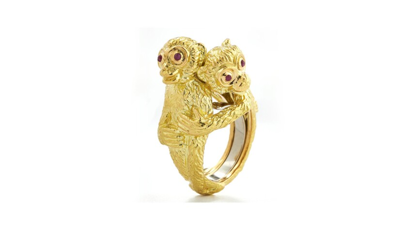 David Webb hugging Monkeys ring