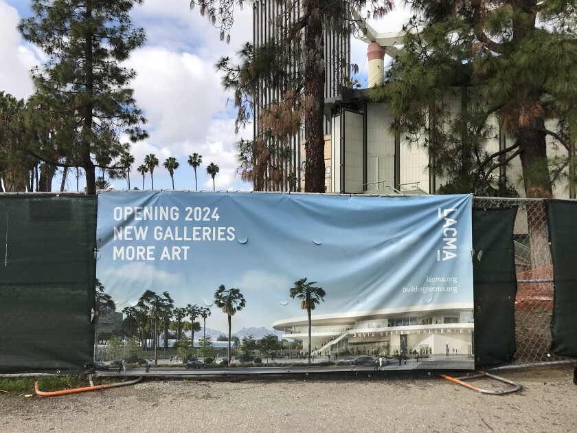"""A banner advertising LACMA's Peter Zumthor building reads """"New Galleries, More Art"""""""