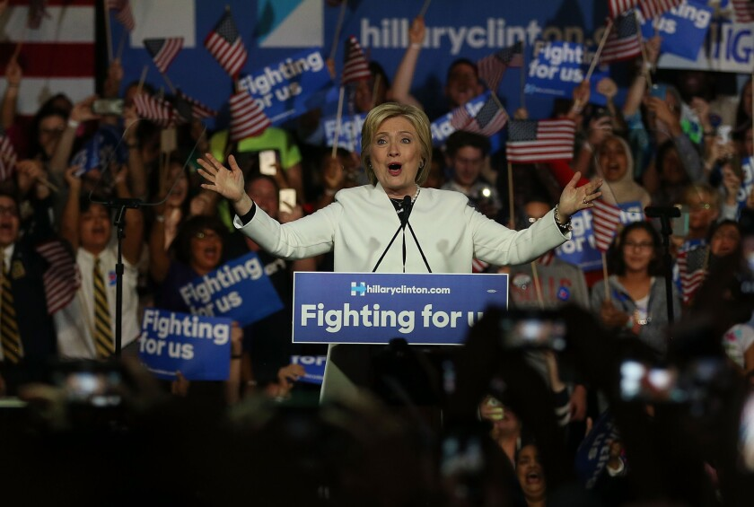 Hillary Clinton speaks during her Super Tuesday event in Miami.