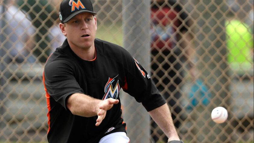 Miami Marlins catcher A.J. Ellis tosses the ball toward home plate during a spring training baseball