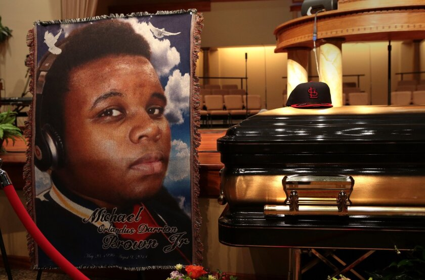 The casket of Michael Brown sits inside Friendly Temple Missionary Baptist Church before the start of his funeral Aug. 25.