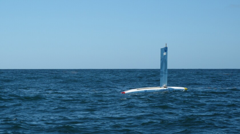 Ocean Aero's unmanned vessels are wind powered via s folding wing and can reach speeds of up to 5 knots.