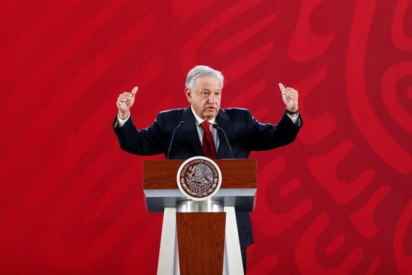 El presidente de México, Andrés Manuel López Obrador, participa el miércoles 20 de marzo de 2019, en una rueda de prensa en el Palacio Nacional en Ciudad de México. EFE/Archivo