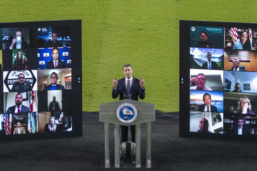 Gov. Gavin Newsom delivers his third State of the State address virtually from empty Dodger Stadium