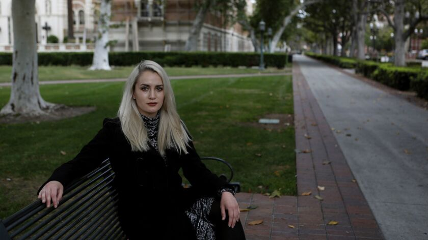 Viva Symanski, 30, was among six women who filed a lawsuit Monday against USC and Dr. George Tyndall.