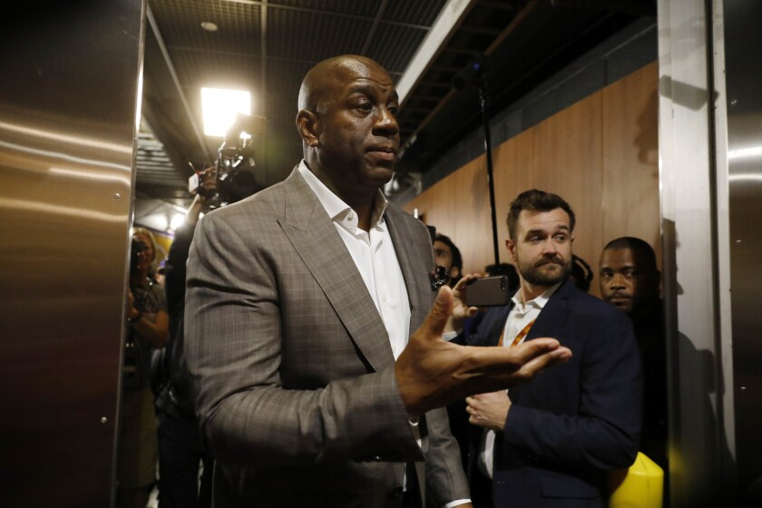 LOS ANGELES, CALIF. -- TUESDAY, APRIL 9, 2019: Earvin Magic Johnson steps down as Lakers' president