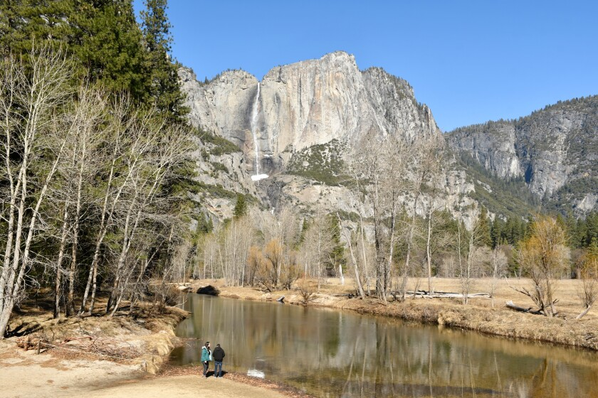 Yosemite National Park is a classic regional travel destination for Californians. This is the Swinging Bridge area near Yosemite Falls in Yosemite Valley.