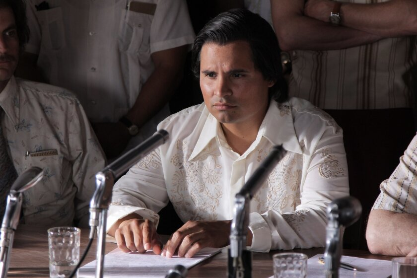 "This photo released by Pantelion Films shows Michael Pena as Cesar Chavez in a scene from ""Cesar Chavez."" (AP Photo/Pantelion Films)"