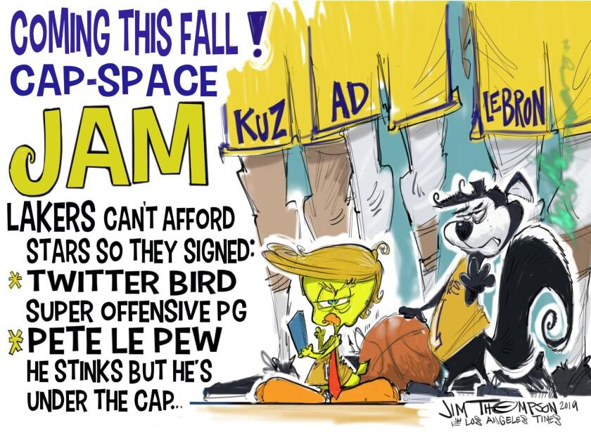 Cartoon depicting Lakers and salary cap.