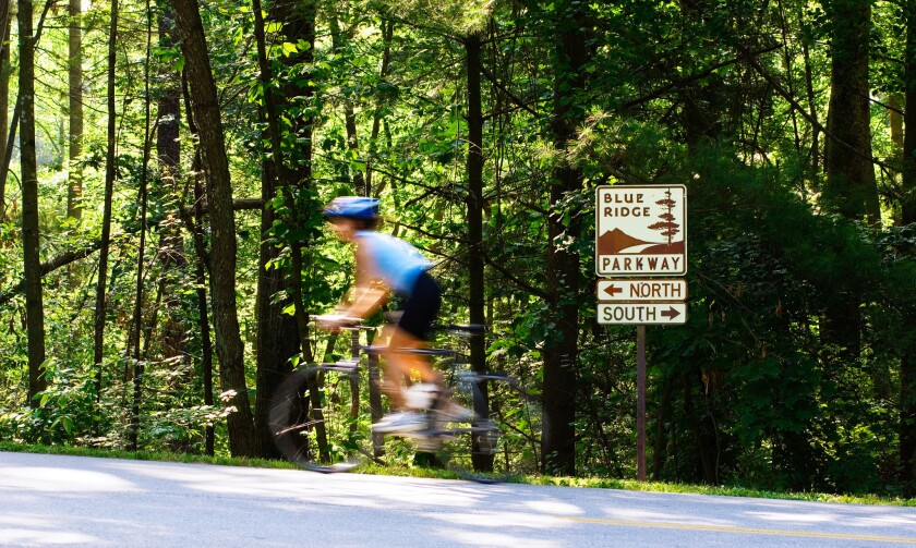 Riders can peddle the Blue Ridge Parkway during a cycling tour that includes Asheville and Highlands in North Carolina.