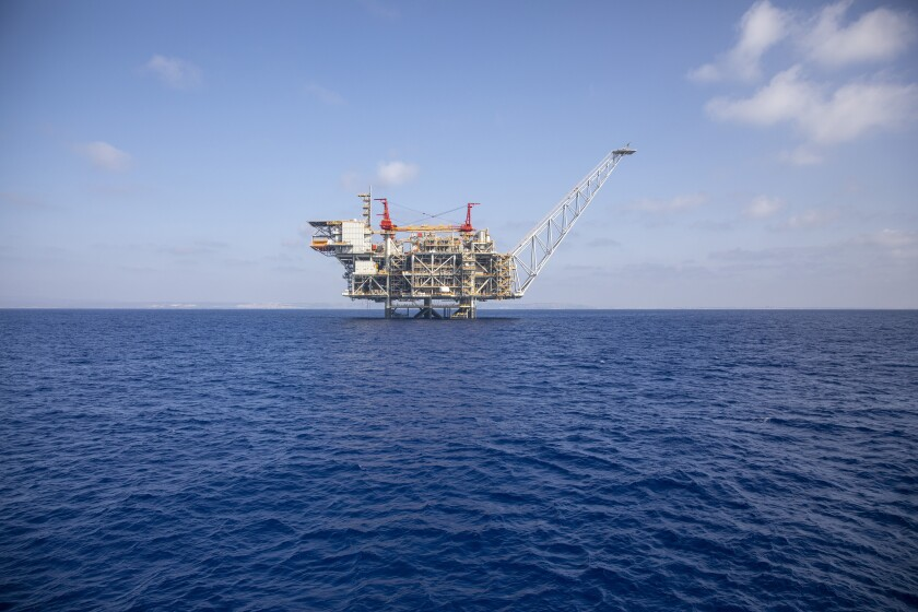 Israel's offshore Leviathan gas field in the Mediterranean Sea, Tuesday, Sept. 29, 2020. Lebanon and Israel have reached an agreement on a framework of indirect, U.S.-mediated talks over a longstanding disputed maritime border between the two countries, the parties announced Thursday. Lebanon began offshore drilling earlier this year and is expected to start drilling for gas in the disputed area with Israel before in the coming months. (AP Photo/Ariel Schalit)