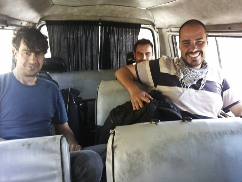 This image provided by Ahmad Ajjan, that was posted on Facebook on Saturday, July 11, 2015, shows Spanish freelance journalists Jose Manuel Lopez, left, Angel Sastre, center, and Antonio Pampliega, right, shortly after their arrival in Syria for a reporting trip. Spain said Wednesday, July 22, 2015 that it is trying to establish what happened to the three who went missing around the embattled northern Syrian city of Aleppo. A fourth journalist, a Japanese national, also is presumed missing in Syria. (courtesy of Ahmad Ajjan via AP) MANDATORY CREDIT