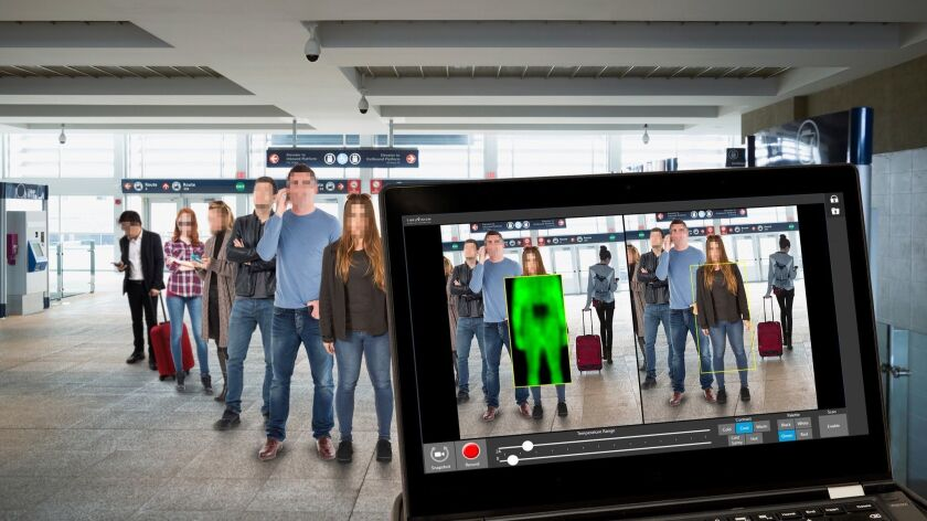 """This image shows how the Thruvision scanner can scan multiple travelers at an airport to help speed up the security checkpoints. The Transportation Security Administration says the Thruvision scanner needs """"enhanced privacy software."""""""