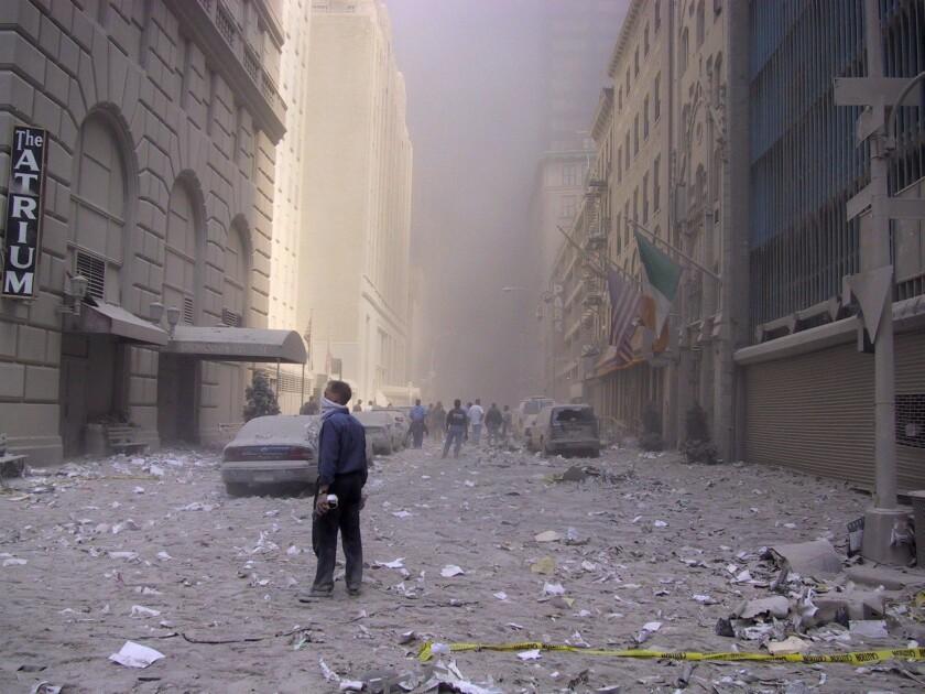 A street near the World Trade Center on Sept. 11, 2001.