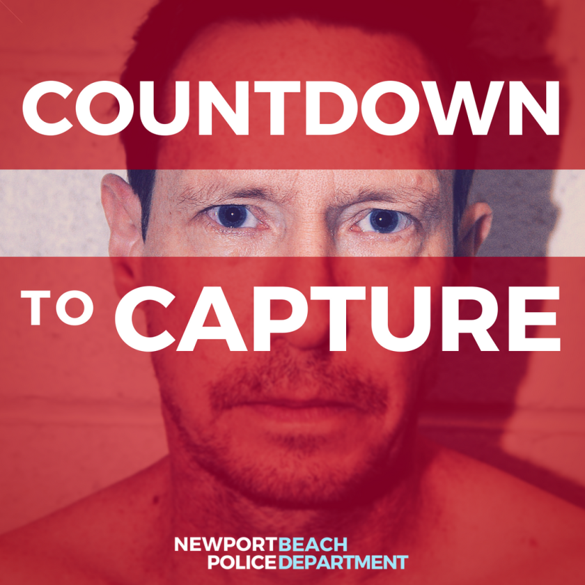 """With """"Countdown to Capture,"""" Newport Beach police aimed to draw attention to Peter Chadwick while he was on the run."""