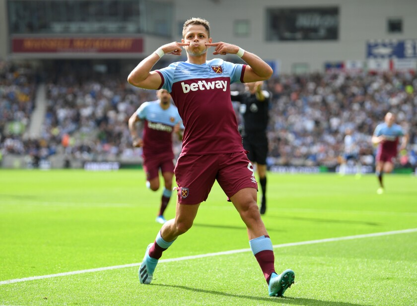 BRIGHTON, ENGLAND - AUGUST 17: Javier Hernandez of West Ham United celebrates after scoring his team's first goal during the Premier League match between Brighton & Hove Albion and West Ham United at American Express Community Stadium on August 17, 2019 in Brighton, United Kingdom. (Photo by Mike Hewitt/Getty Images) ** OUTS - ELSENT, FPG, CM - OUTS * NM, PH, VA if sourced by CT, LA or MoD **