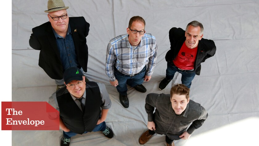 An animated gathering with, clockwise from top left, directors Richard Starzak, Pete Docter, Steve Martino, Duke Johnson and Peter Sohn.