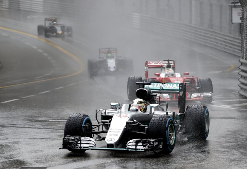 Mercedes driver Lewis Hamilton of Britain steers his car during the Formula One Grand Prix at the Monaco racetrack in Monaco, Sunday, May 29, 2016. (AP Photo/Petr David Josek)