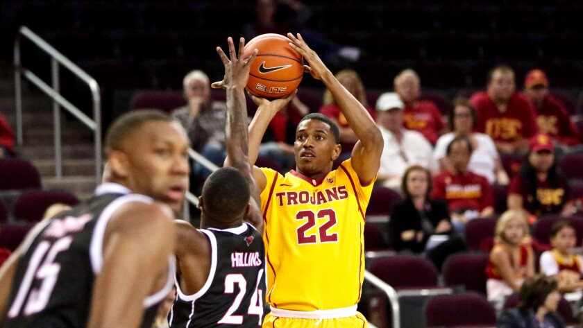 USC guard De'Anthony Melton, shown taking a shot during a game against Omaha last season.