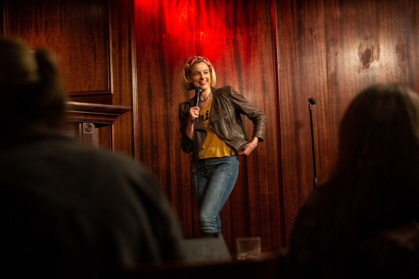 HERMOSA BEACH, CALIF. - MAY 18: Comedian Erica Rhodes, performs a set on stage at The Comedy and Mag