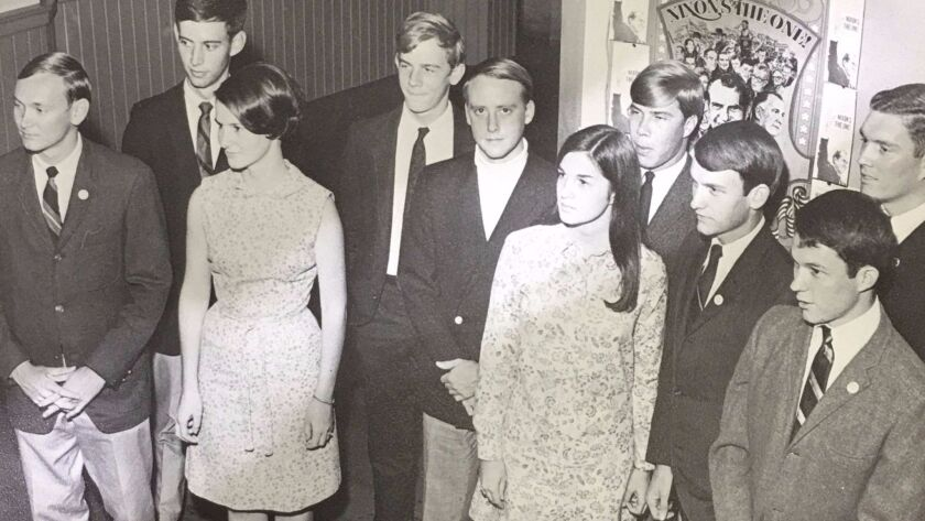 Jeff Sessions (first row, far right) with fellow members of Huntingdon College's Young Republicans Club in 1969.