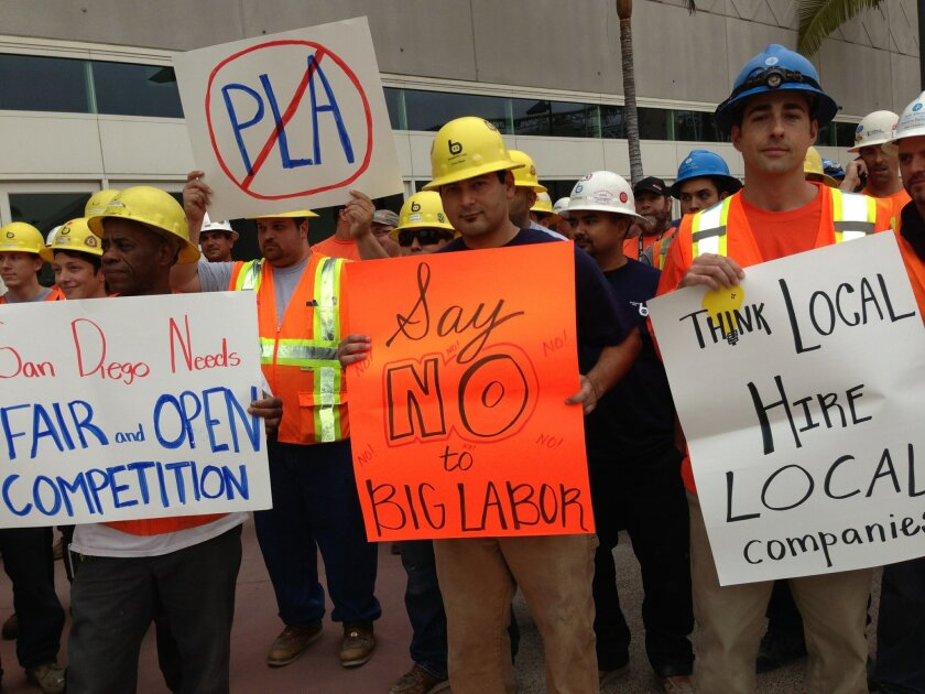 Non-union employees protest labor-friendly pact that would ensure hiring of union workers on planned expansion of convention center