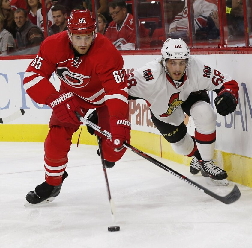 Carolina Hurricanes' Ron Hainsey, left, battles Ottawa Senators' Mike Hoffman, right, for the puck during the first period of an NHL hockey game in Raleigh, N.C., Saturday, Nov. 7, 2015. (AP Photo/Ellen Ozier)
