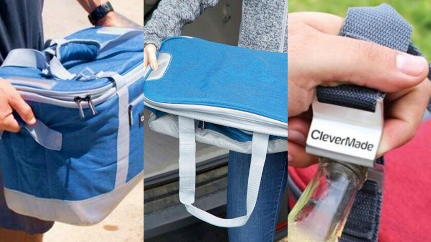 CleverMade SnapBasket Cooler has cloth handles at both ends, folds for easy storage and has an integ