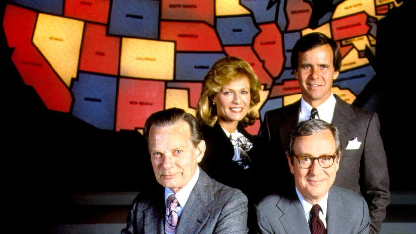 In 1980, NBC used red for Democratic wins and blue for the Republicans. Clockwise from left, David Brinkley, Jessica Savitch, Tom Brokaw and John Chancellor.