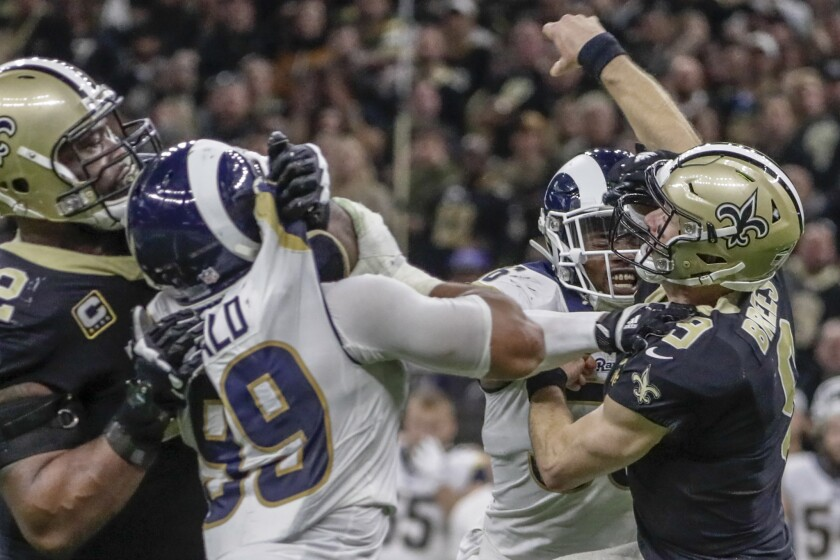 Aaron Donald pressures Drew Brees in the NFC championship game in January.