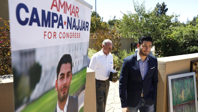 Congressional candidate Ammar Campa-Najjar arrives at a meet and greet in Escondido on Sunday. He's challenging incumbent Rep. Duncan Hunter (R-Alpine), who is fighting campaign finance charges.