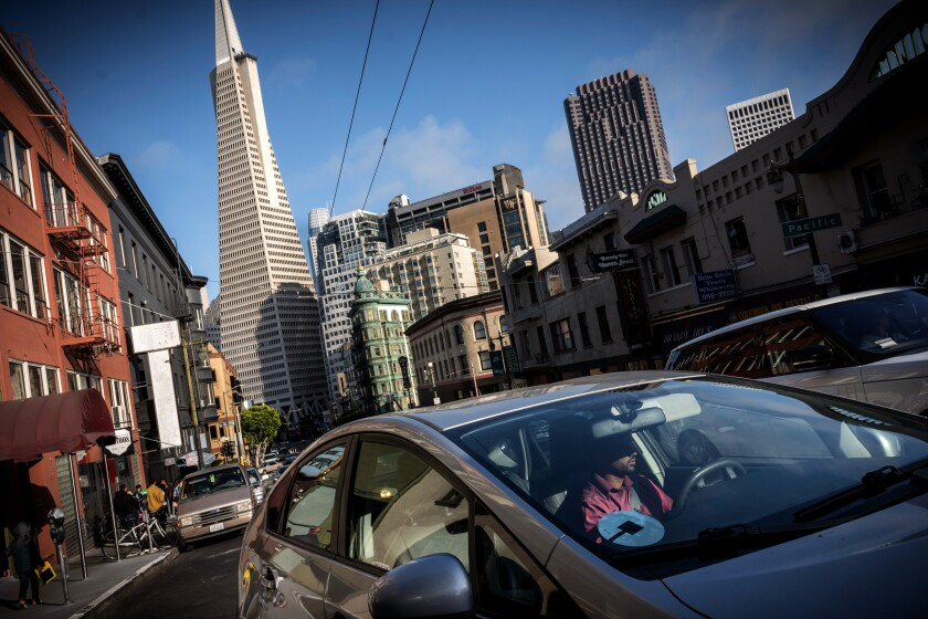 A Uber driver in San Francisco.