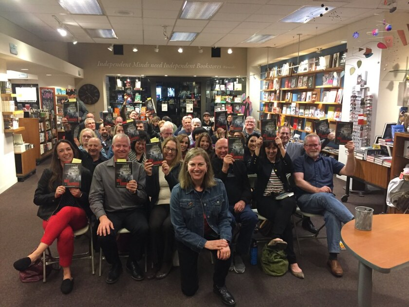 Author events draw crowds and spur sales. This one, in February 2020, featured thriller writer Meg Gardiner at Warwick's books in La Jolla.