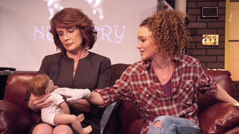 """From left, Kristin Carey and Joanna Strapp in Zayd Dohrn's """"Reborning"""" at the Fountain Theatre."""