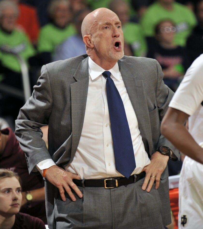 Virginia Tech coach Dennis Wolff shouts instructions to his team during the first half of an NCAA college basketball game against Notre Dame, Thursday, Jan. 30, 2014 in South Bend, Ind. (AP Photo/Joe Raymond)