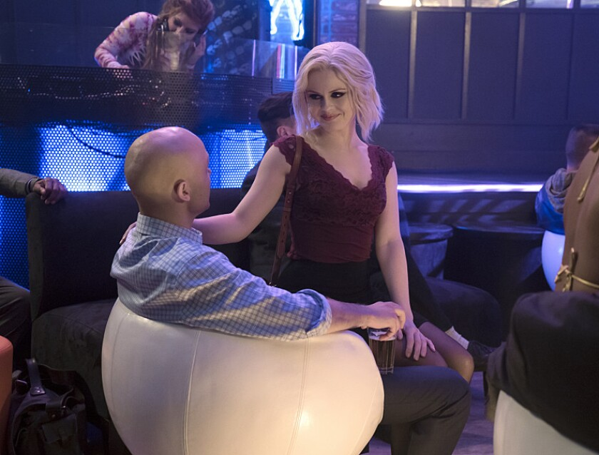 "Liv Moore (Rose McIver) tries to solve the murder of a stripper in the new ""iZombie"" episode ""Pour Some Sugar, Zombie"""