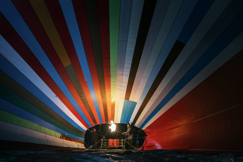 """A colorful hot-air balloon in the movie """"Balloon."""""""