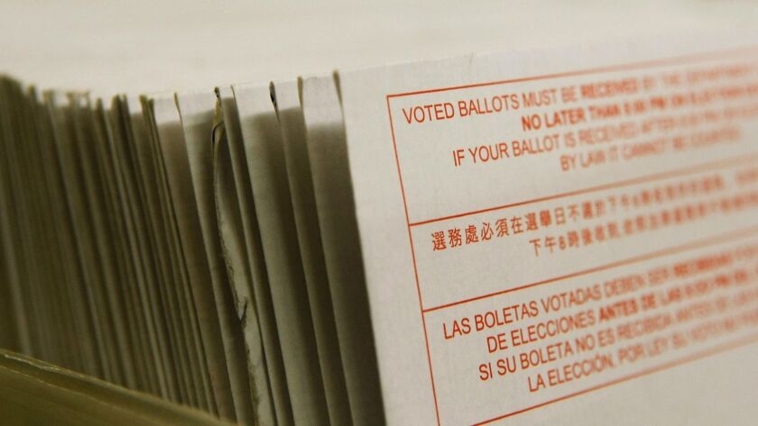 A stack of vote-by-mail ballots sits in a box after being sorted at the San Francisco Department of Elections. Three political parties are allowing independent voters to participate in California's presidential primary, three others are not. Democrats are a yes, Republicans a no.
