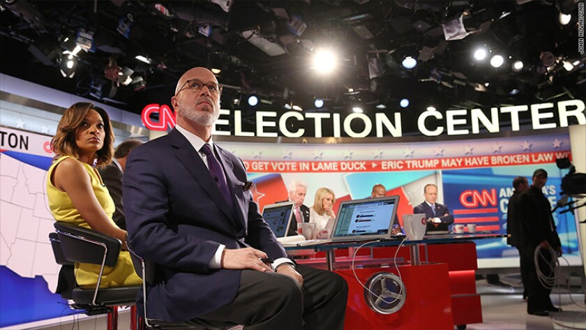 Nia-Malika Henderson and Michael Smerconish in the foreground as CNN's election night team watches 2016 results come in.