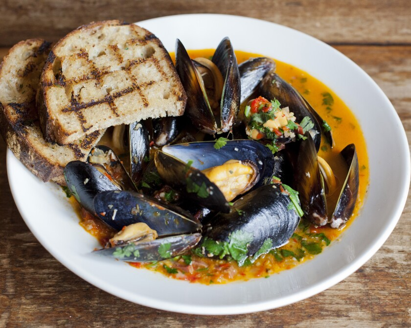 Steamed Mussels in a jalapeno butter with Spanish chorizo