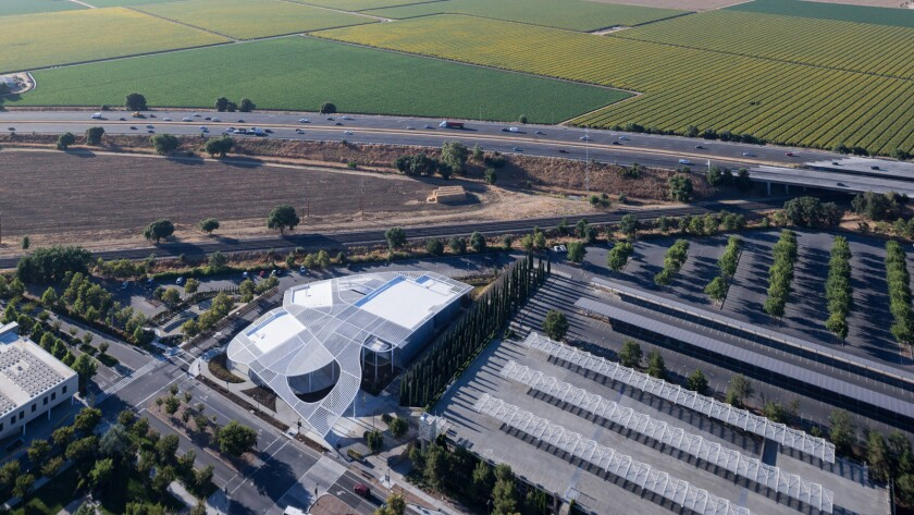 Aerial view of the Jan Shrem and Maria Manetti Shrem Museum of Art at UC Davis.