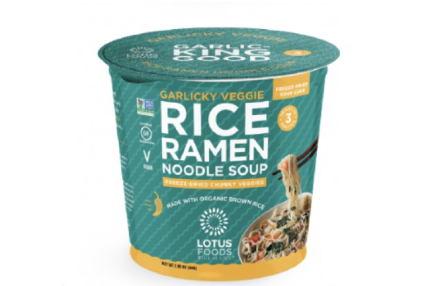 Freeze-dried, gluten-free ramen cups from Lotus Foods.