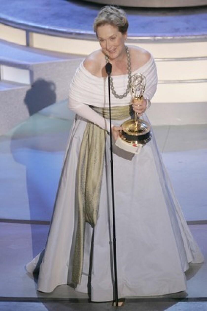 Meryl Streep onstage delivering her Emmy speech.