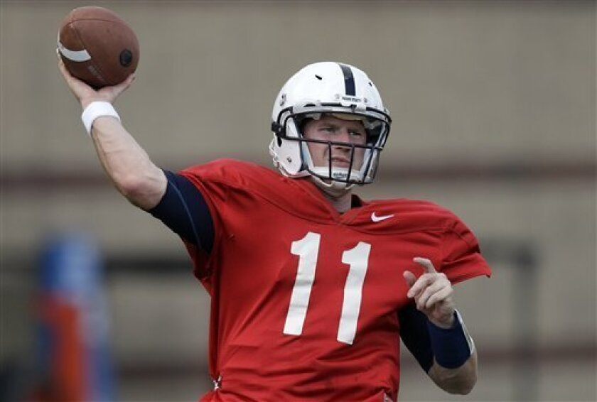 In the Aug. 21, 2012 file photo Penn State quarterback Matt McGloin warms up during the NCAA college football team's workout in State College, Pa.(AP Photo/Gene J. Puskar)