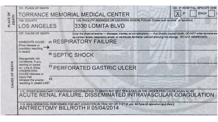 Sharley McMullen's death certificate says she died from respiratory failure and septic shock caused by her ulcer.