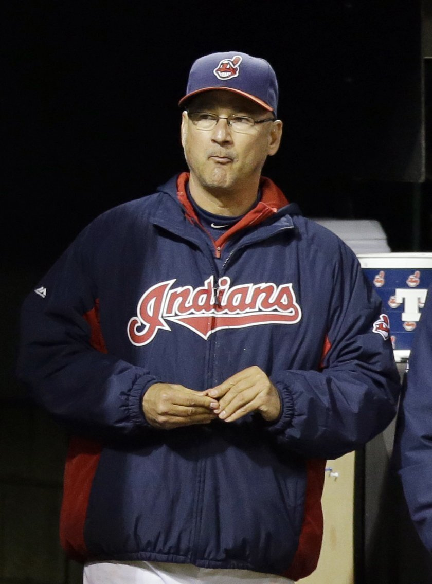 FILE - In this Sept. 22, 2014, file photo, Cleveland Indians manager Terry Francona watches in the ninth inning of a baseball game against the Kansas City Royals in Cleveland. Francona believes his team has what it takes to get back on October's postseason stage. (AP Photo/Tony Dejak, File)